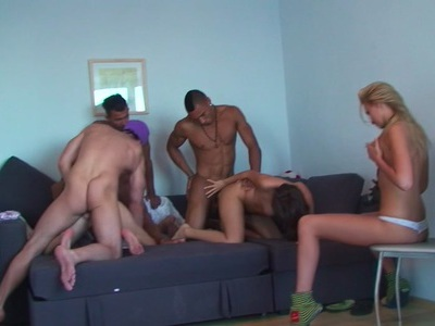 Ally & Margo & Ivana Sugar & Milia in cute college girls enjoying group sex action