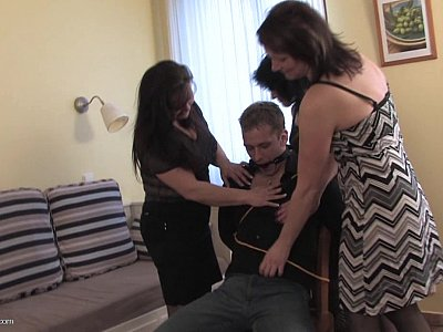 Reverse gangbang by three mature women