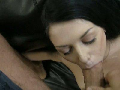 Disgraceful brunette Isabella Clark deepthroats and does anal